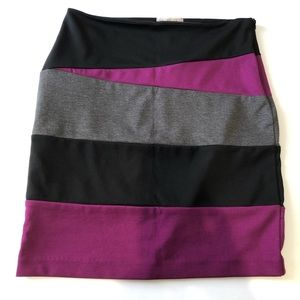 Kenar angled, multi-colored skirt